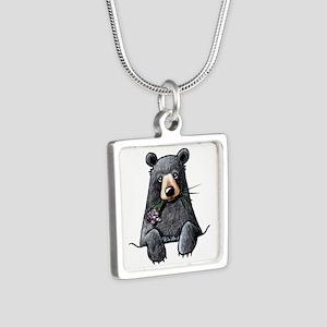 Pocket Black Bear Silver Square Necklace