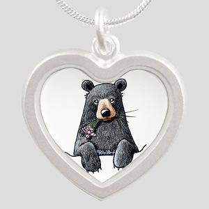 Pocket Black Bear Silver Heart Necklace