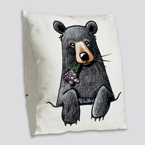 Pocket Black Bear Burlap Throw Pillow