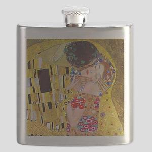 The Kiss detail, Gustav Klimt, Vintage Art N Flask