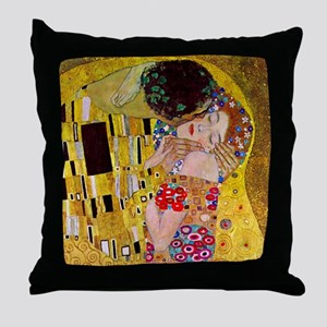 The Kiss detail, Gustav Klimt, Vintag Throw Pillow