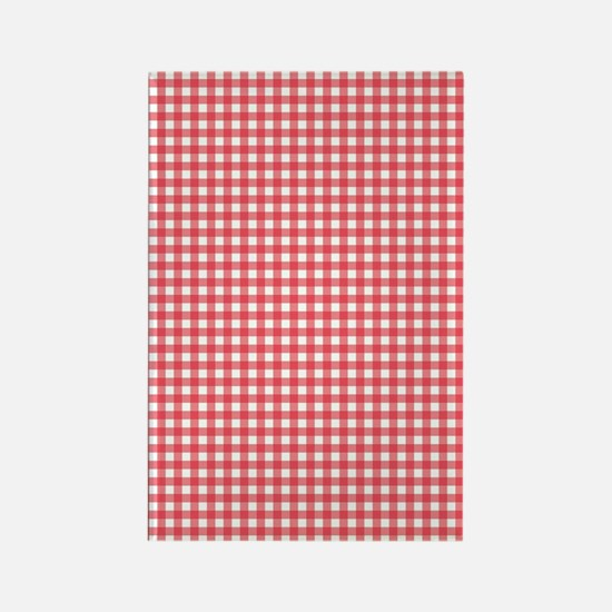 red and white gingham plaid patte Rectangle Magnet