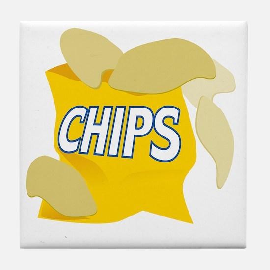 bag of potato chips Tile Coaster