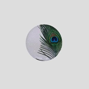 Glittery White Peacock Mini Button