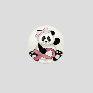 cute breast cancer pink ribbon panda g Mini Button
