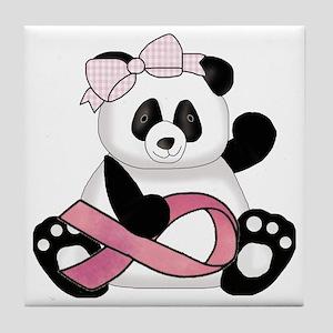 cute breast cancer pink ribbon panda  Tile Coaster