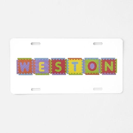 Weston Foam Squares Aluminum License Plate