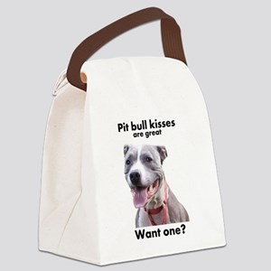 Pit Bull Kisses Canvas Lunch Bag