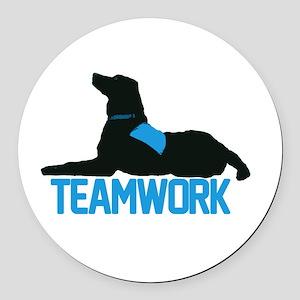 teamwork_blue Round Car Magnet