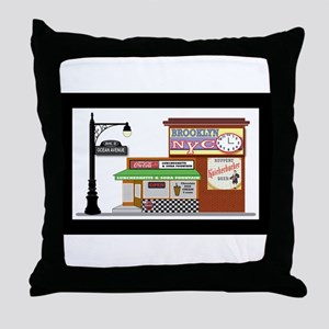 Brooklyn Soda Shop Throw Pillow