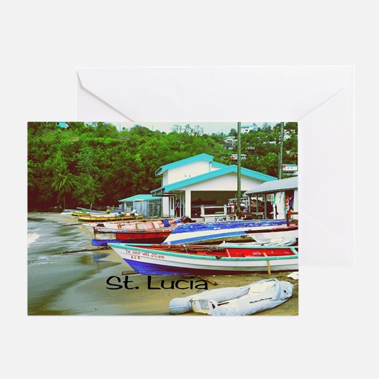 St. Lucia, waterfront  Greeting Card