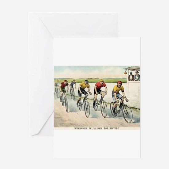 Wheelmen in a red hot finish - 1894 Greeting Card