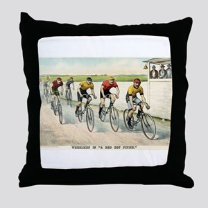Wheelmen in a red hot finish - 1894 Throw Pillow