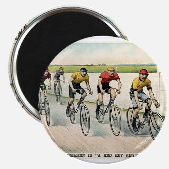 Wheelmen in a red hot finish - 1894 Magnet