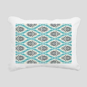 ornate teal and grey dam Rectangular Canvas Pillow