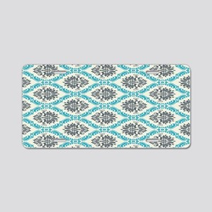 ornate teal and grey damask Aluminum License Plate