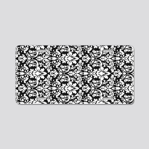 ornate intricate white blac Aluminum License Plate