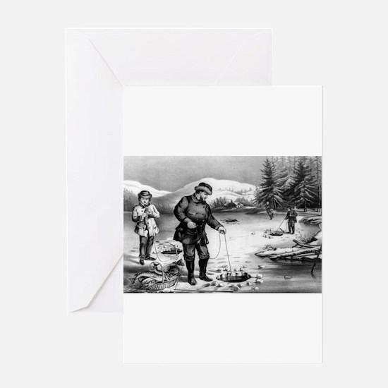 Winter sports--pickerel fishing - 1872 Greeting Ca