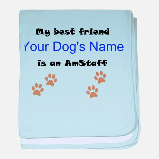Custom AmStaff Best Friend baby blanket