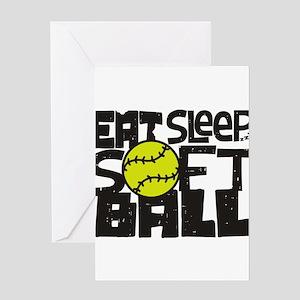 EAT, SLEEP, SOFTBALL - Black Greeting Card