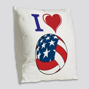 I Love Volley Ball Burlap Throw Pillow
