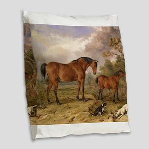 Vintage Painting of Horses on the Farm Burlap Thro