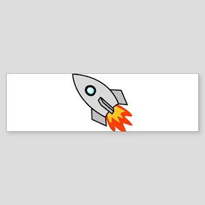 Cartoon Rocket Space Ship Bumper Sticker