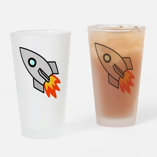 Cartoon Rocket Space Ship Drinking Glass