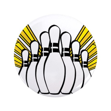 """Bowling Pins with Stars 3.5"""" Button (100 pack)"""