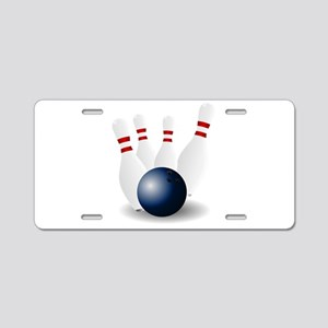Bowling Ball and Pins Aluminum License Plate