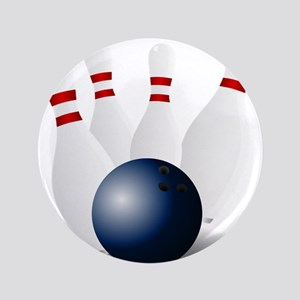 """Bowling Ball and Pins 3.5"""" Button"""