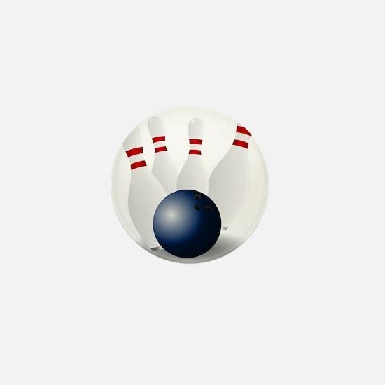 Bowling Ball and Pins Mini Button