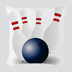 Bowling Ball and Pins Woven Throw Pillow