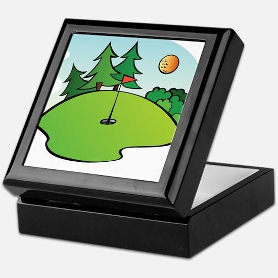 Cartoon Golf Course Keepsake Box