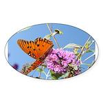 Beautiful Butterfly Print Oval Sticker