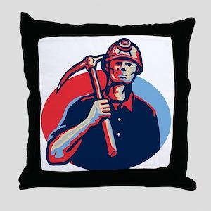 Coal Miner Pick Axe Retro Throw Pillow