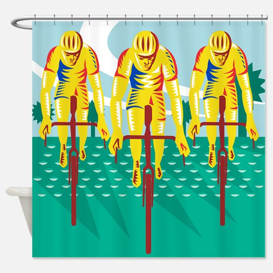 Cyclist Riding Bicycle Cycling Retro Shower Curtai