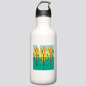Cyclist Riding Bicycle Cycling Retro Water Bottle