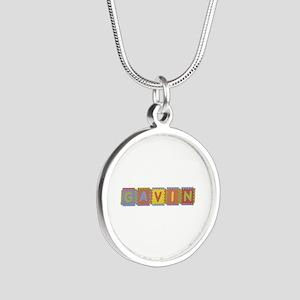 Gavin Foam Squares Silver Round Necklace