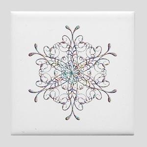 Iridescent Snowflake Tile Coaster