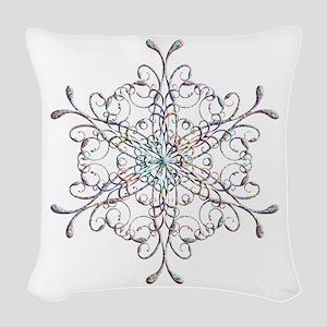 Iridescent Snowflake Woven Throw Pillow