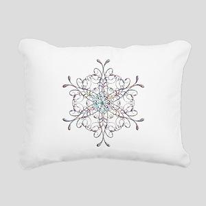 Iridescent Snowflake Rectangular Canvas Pillow