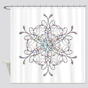 Iridescent Snowflake Shower Curtain