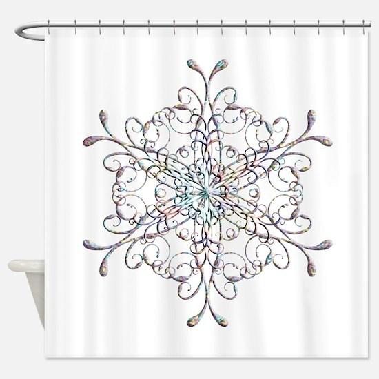 Iridescent Snowflake Shower Curtain