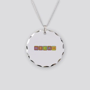 Micah Foam Squares Necklace Circle Charm