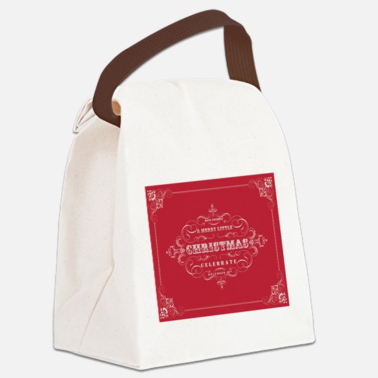 Vintage Christmas typography Canvas Lunch Bag