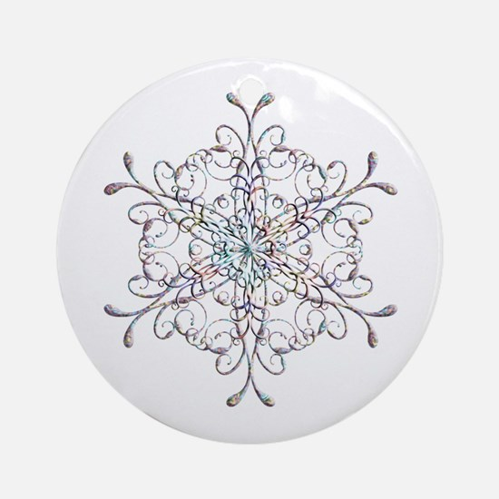 Iridescent Snowflake Ornament (Round)