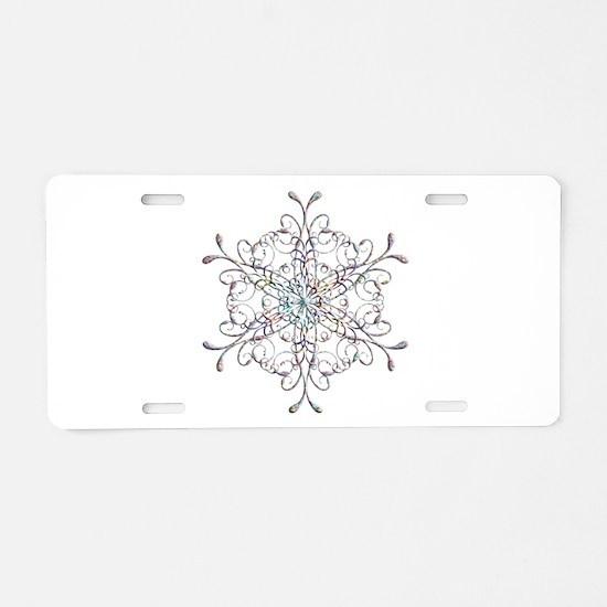 Iridescent Snowflake Aluminum License Plate