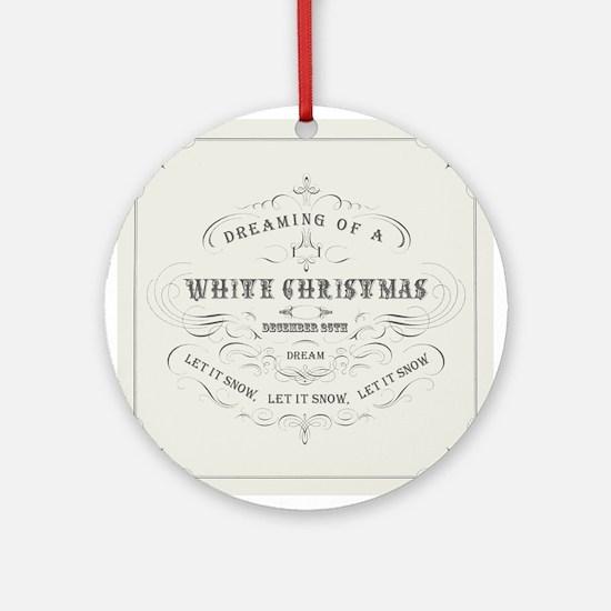 Vintage White Christmas Ornament (Round)