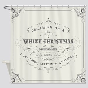 Vintage White Christmas Shower Curtain